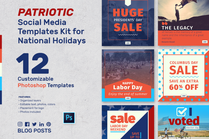 Patriotic Social Media Banner Templates Kit for Photoshop
