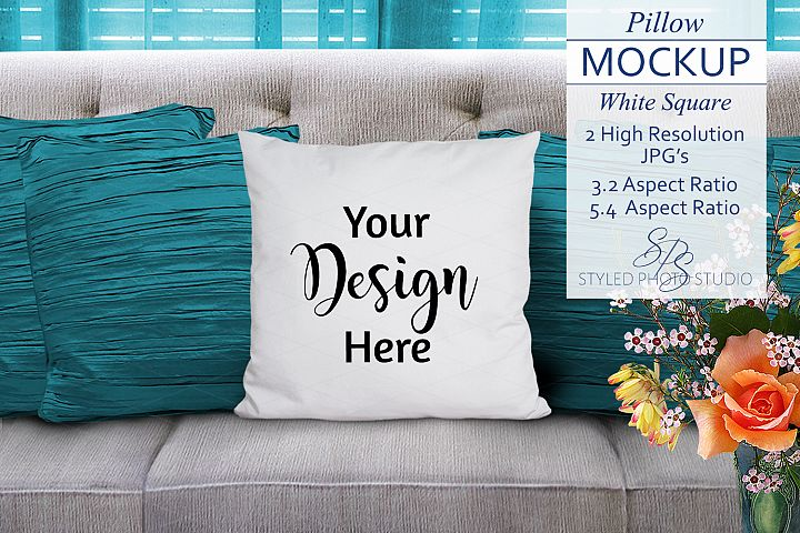 Throw Pillow Mockup and Turquoise Curtains 3.2 / 5.4 Aspect