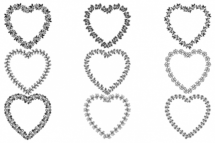 Heart shaped wreath frames set