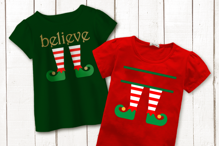 Christmas Elf Legs Split Believe SVG File Cutting Template