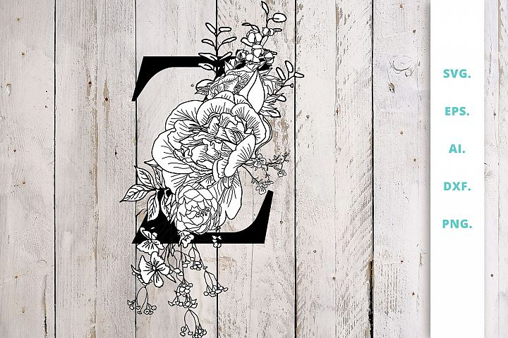 Floral Letter Z Paper Cut file SVG/DXF