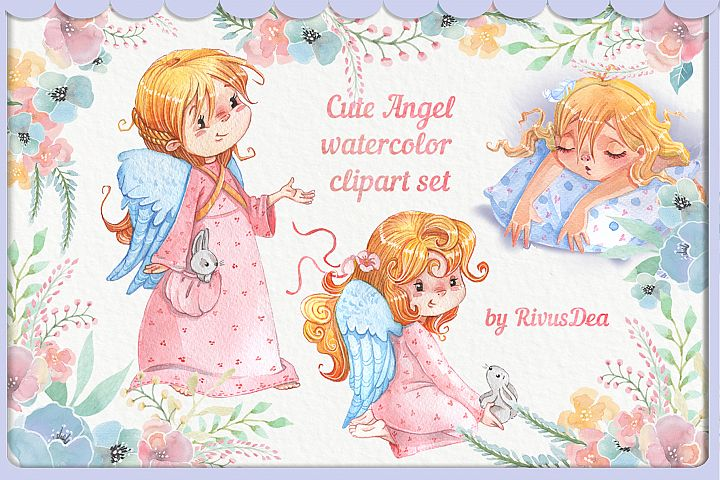 Watercolor Angel girl with bunny and flowers clipart set