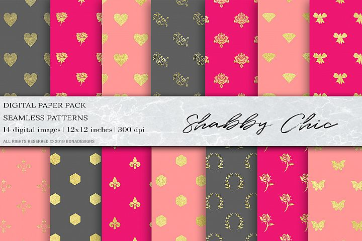 Shabby chic digital papers, Wedding Digital Paper, Gold Pink
