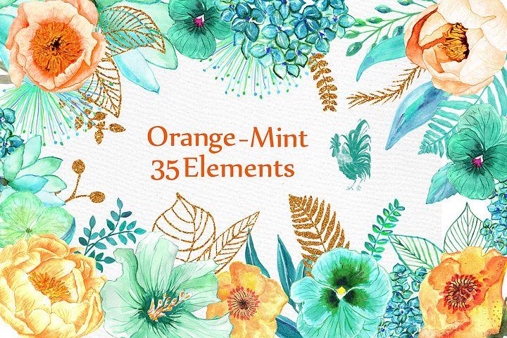 Orange Mint flowers clip art