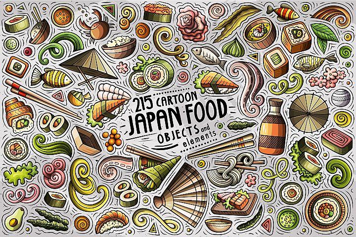 JAPAN FOOD Cartoon Vector Objects Set
