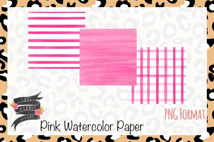 Pink Watercolor Paper Set of 3