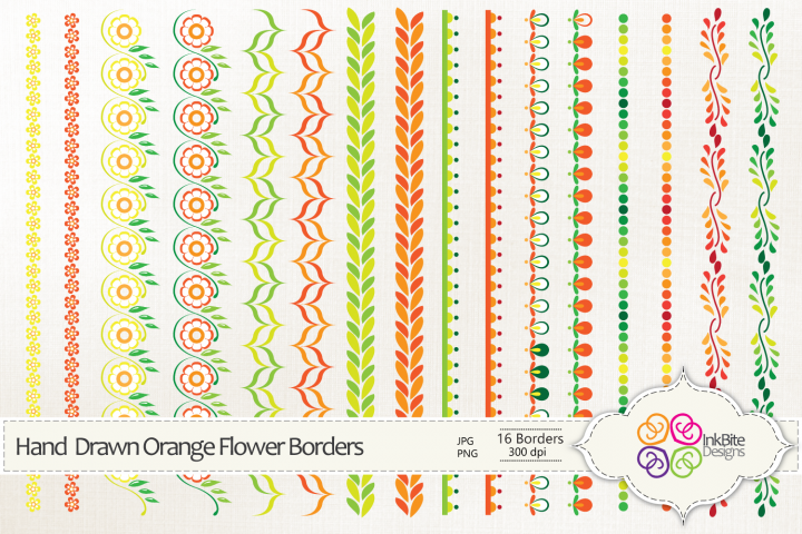 Hand Drawn Orange Flowers Borders