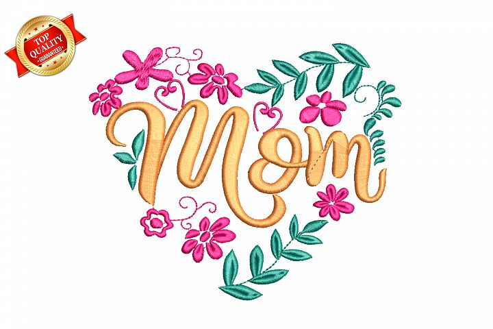 Mom Heart Lettering Machine Embroidery Design