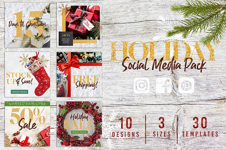 Christmas Holiday Social Media Bundle Pack