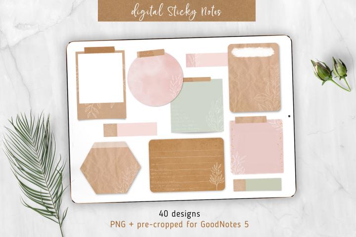 Digital Sticky Notes for GoodNotes 5, elegant botanical