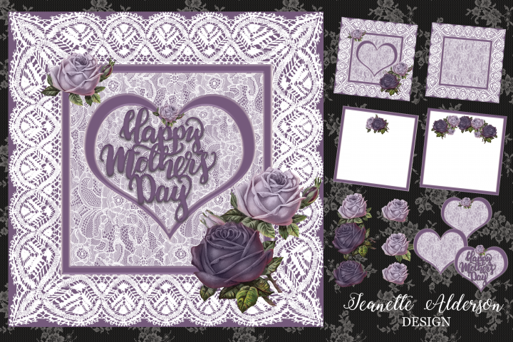 Mothers Day Lavender roses &lace card digital cutting file