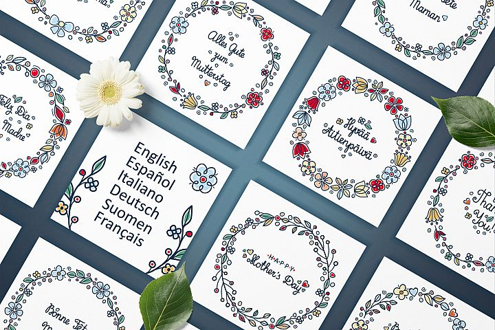 Greeting cards for Mother's Day in different languages. English, German, Finnish, Spanish, Italian, French example 2