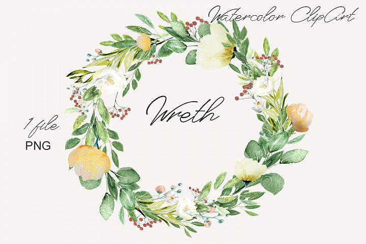 Watercolor Floral Wreth Clipart