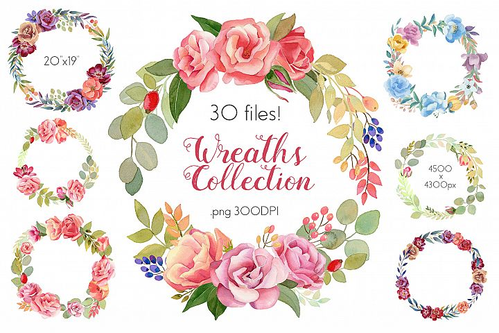 Watercolor Wreaths Collection Set