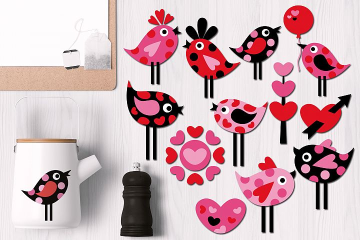 Valentine Polka Dot Birds