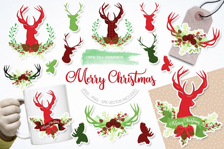 Merry Christmas graphic and illustrations