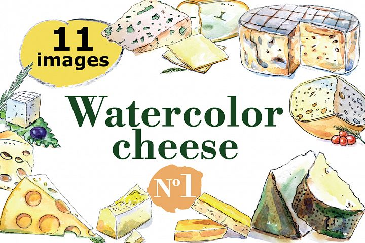 Watercolor cheese vector set