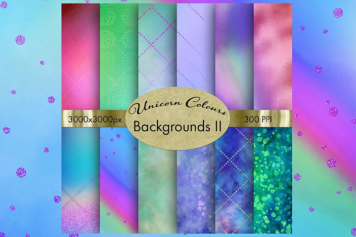 Unicorn Colours Backgrounds II - 12 Image Set