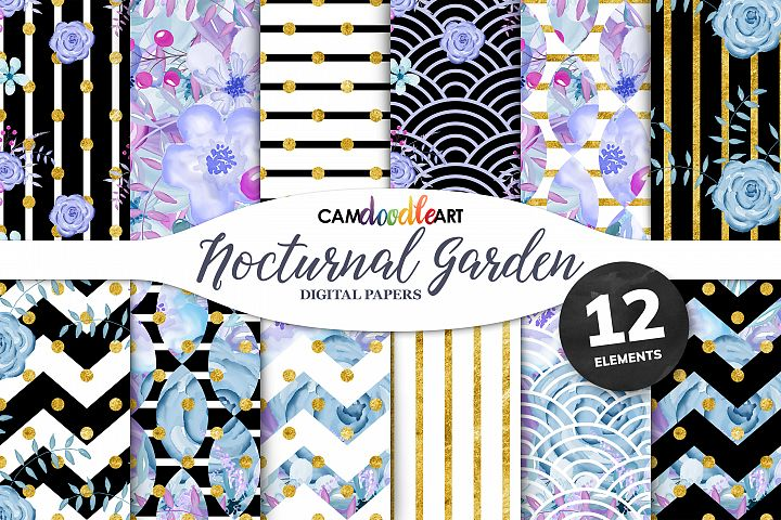 Purple and Blue Floral Digital Papers