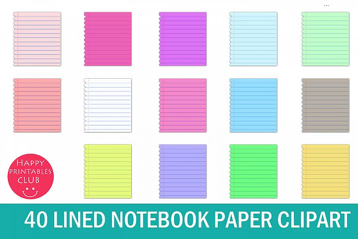 40 Lined Notebook Paper Clipart- Notebook Pages Clipart