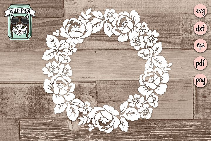 Wreath SVG file, Wreath cut file, Floral, Flowers, Stencil