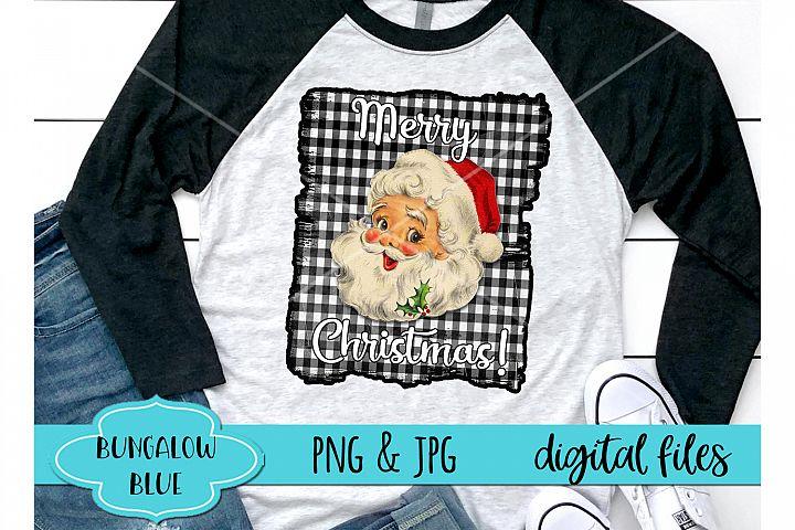 Merry Christmas Santa Buffalo Plaid Digital Download