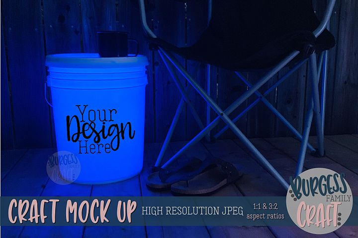 Bucket light table blue Craft mock up| High Resolution JPEG