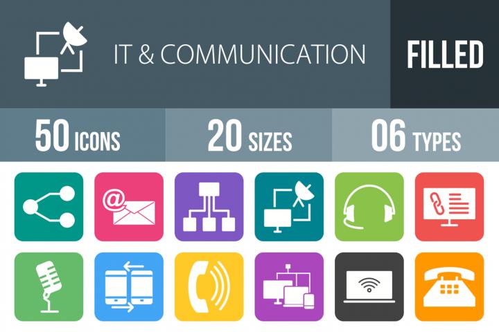 50 IT & Communication Filled Round Corner Icons