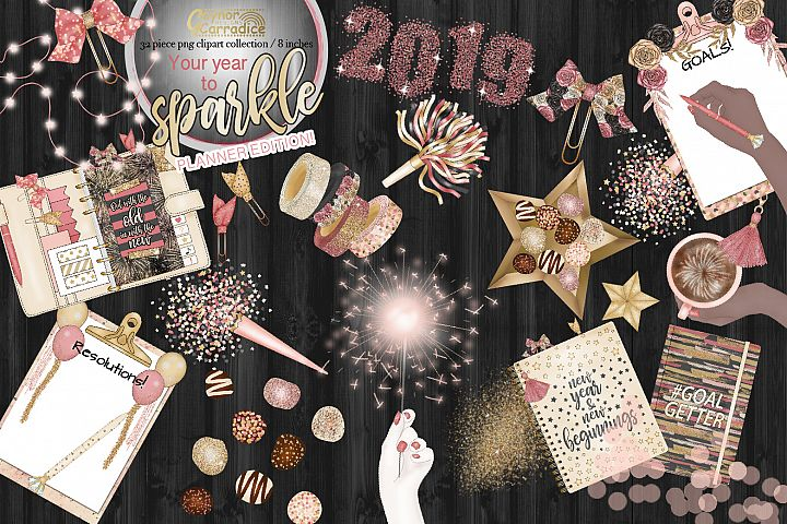 Your year to sparkle - New year planner Clipart collection