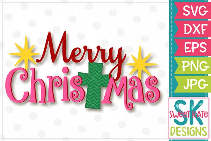 Merry Christmas with Cross SVG DXF EPS PNG JPG