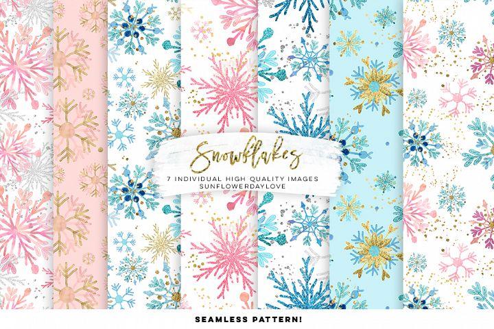 Snowflakes Digital Paper, Snowflakes Seamless Pattern
