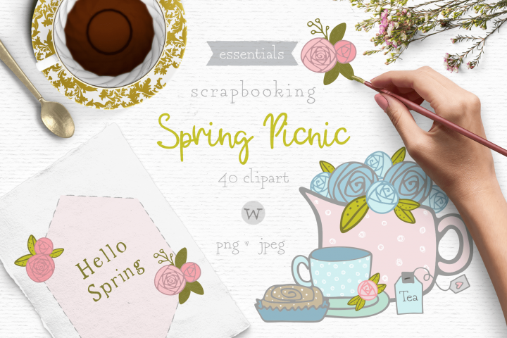 Spring flowers clipart, shabby chic clipart, doodle clipart