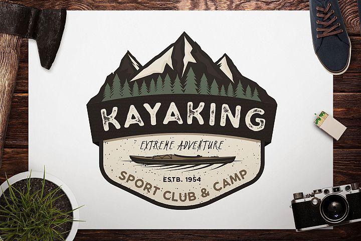 Kayak SVG Cut File, Adventure Digital, Mountain Camp Cut file, Wanderlust, Vector logo, Cricut Cutting File, Camp Printable, Travel svg