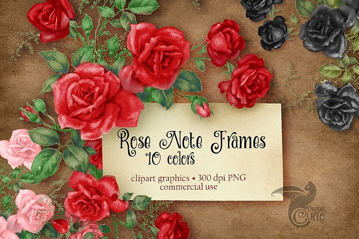 Rose Note Frames Clipart