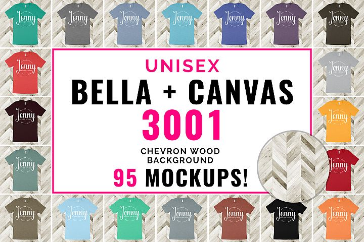 Bella Canvas 3001 Unisex Mockup Bundle, 95 Mockups