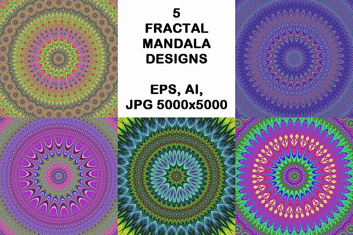 5 fractal mandala design backgrounds