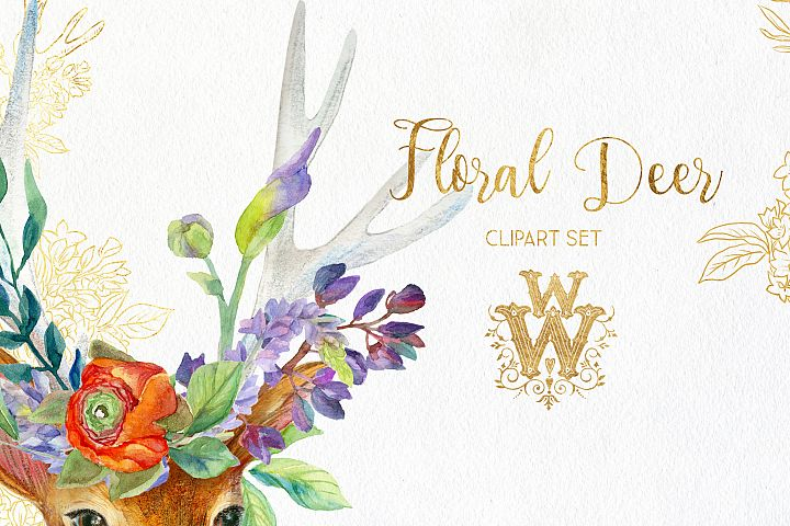 Watercolor floral deer printable clipart, golden graphics example 2