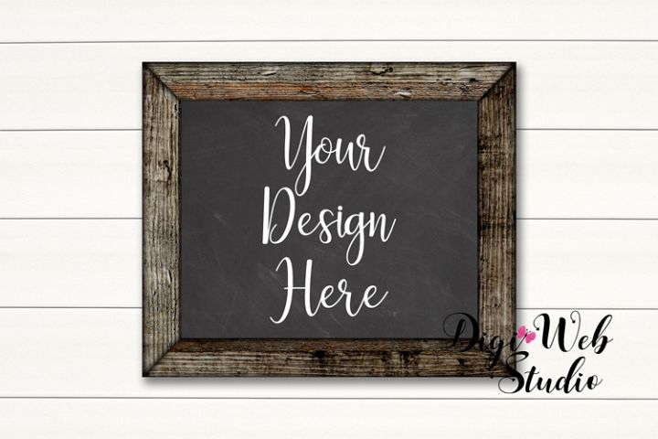 Wood Sign Mockup - Chalkboard Wood Frame on White Shiplap