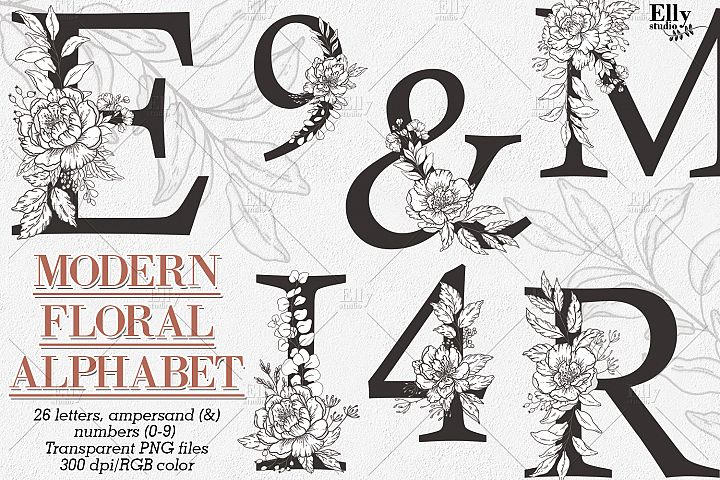 Modern Floral Alphabet and Numbers