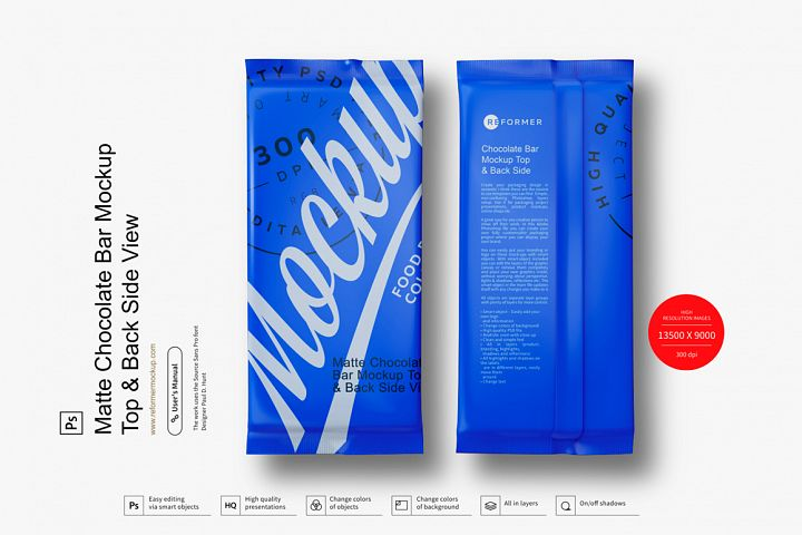 Matte Chocolate Bar Mockup Top & Back Side View