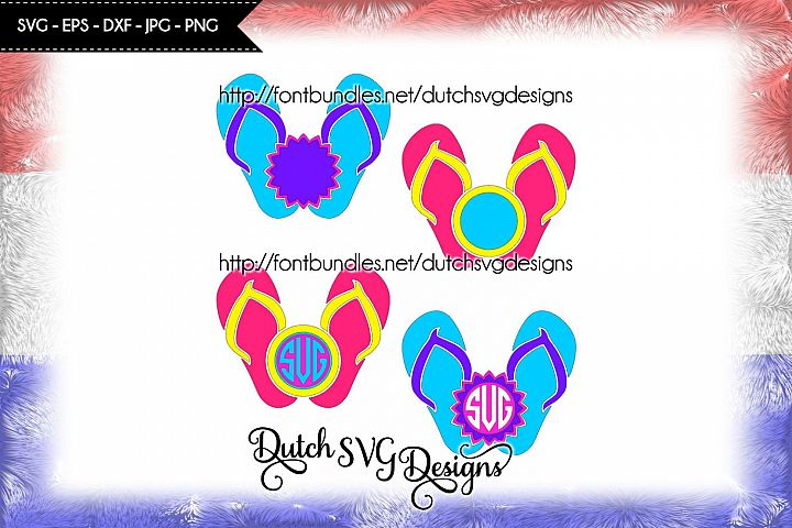 2 Flip flop monogram cutting files