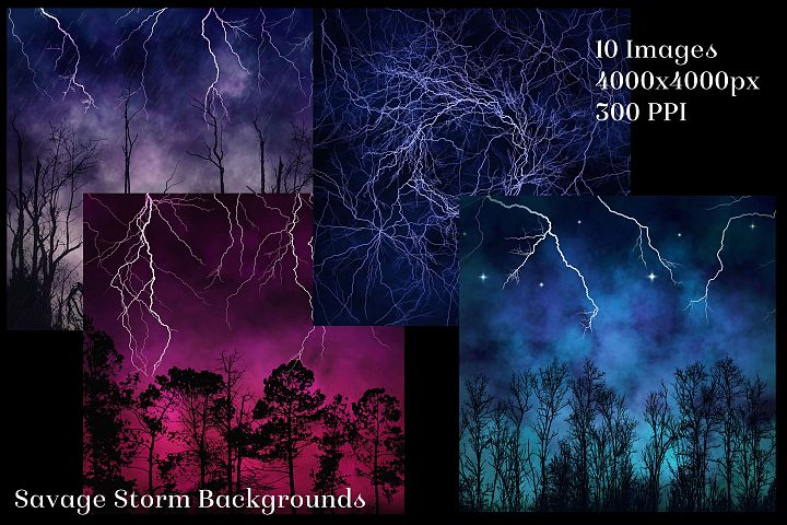 Savage Storm Backgrounds - 10 Image Textures Set example image 2