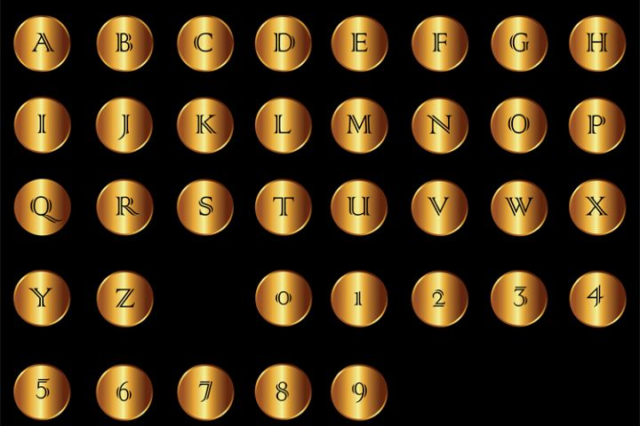 Golden Coin Letters and Numbers