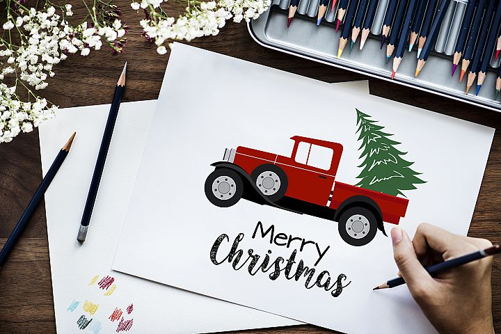Christmas Truck & Tree Illustration