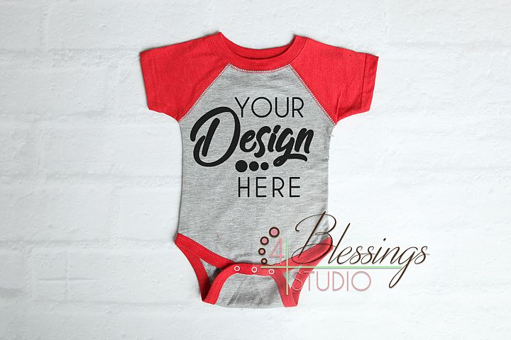 Raglan Bodysuit Mockup Blank Red Gray Baby Rabbit Skins