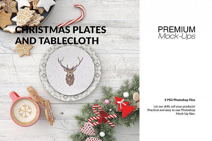Christmas Plates Tablecloth & Gingerbread Set