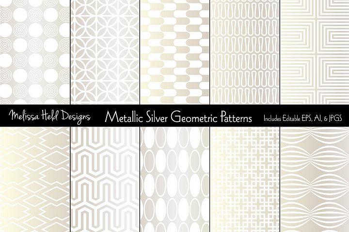 Metallic Silver Geometric Patterns