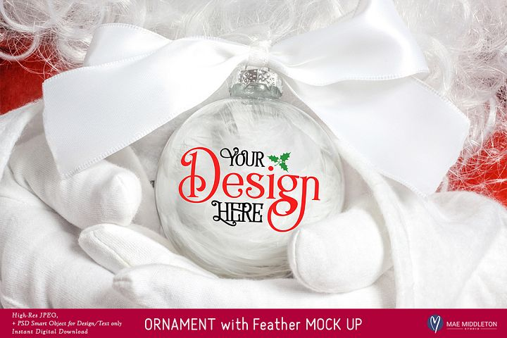 Christmas Mock up - Ornament with Feathers