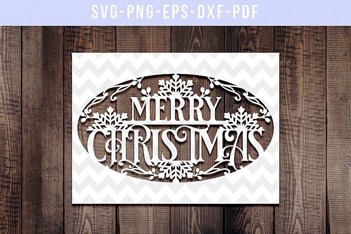 Merry Christmas Papercut Template, Xmas Card Cover, SVG, DXF