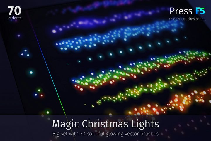 Magic Christmas Lights Vector Brushes Big Set